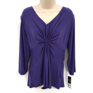 NWT Daisy Fuentes Knotted Front Purple Blouse XL